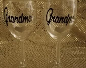 Grandma and Grandpa Wine Glasses