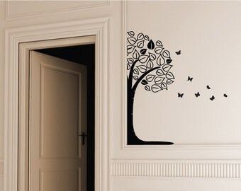 Large Tree Wall Decal/Vinyl Wall Sticker With Butterflies - Wallpaper Tree Wall Art Decor - Removable Mural Christmas Gift