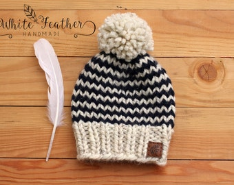 Striped Knit Toque l Chunky Knit Striped Hat l
