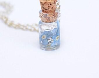 flower girl gift wedding necklace terrarium blue wedding jewelry flower girl necklace gift bridesmaids jewelry blue necklace tiny gift Р166