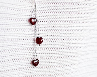 heart necklace romantic gift/for/her necklace dark red jewelry gift girlfriend birthday gifts wife anniversary silver red necklace long Y11