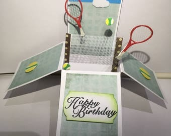 Tennis pop up box card*Happy Birthday pop up*