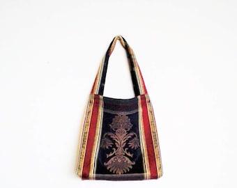 bohemian bag / tote bag / shopping bag / market bag / hand bag / hand tote / apstract bag / groceries bag / upholstery tote