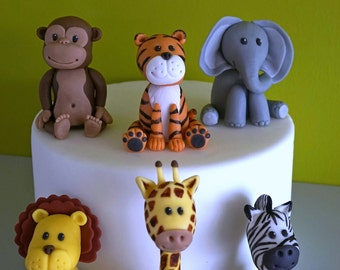 Fondant safari animals cake topper, elephant topper, giraffe topper, zebra topper, lion topper, tiger topper, monkey topper, fondant set