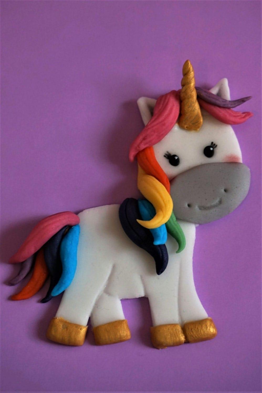 Fondant unicorn cake topper, horse cake topper, rainbow ...