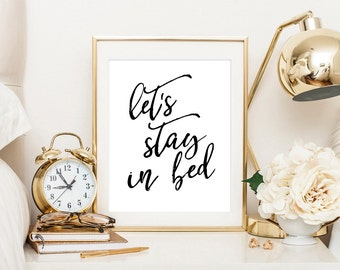 Let's stay in bed, bedroom wall art, scandinavian poster, stay in bed, namast'ay in bed, printable art, bedroom decor, bedroom print
