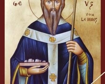 Saint Liborius of Le Mans, Der heilige Liborius von Le Mans, orthodox icon, byzantine icon, original hagiography, hand painted on request