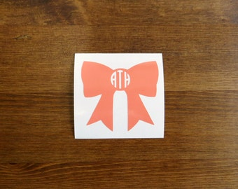 Bow Initial Monogram Vinyl Decal // Choose Your Color, Size, and Initials