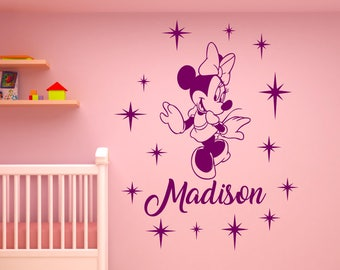 Minnie Mouse Wall Decal Personalized Girl Name Vinyl Sticker Decals Name Minnie Mouse Nursery Wall Decor Kids Room Childrens Bedroom ET069