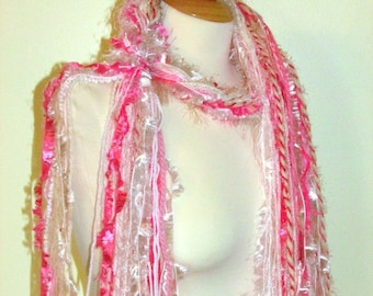 Fringe scarf, Pink fringe scarf, Knotted Scarf, wearable art, fiber art scarf, womens gifts, Boho scarf, photo prop, romantic clothing, pink