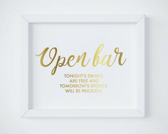 Wedding open Bar Sign, Open Bar Wedding Sign, Gold bar sign, Gold Open Bar Sign Wedding, Alcohol sign, Bar Sign INSTANT DOWNLOAD