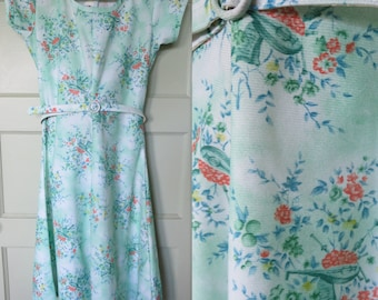 Vintage Dress, 60s, Dress, Vintage, Mandolin, Green Dress, 60s Dress, Cute Dress, Belt, Girls Dress, Size small