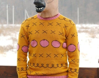 Bojack Horseman sweater, Replica of the cartoon sweater, horsin around, hand knit sweater, yellow sweater