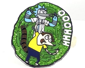 Migby and MordeRick, Rick and Morty pin, Mordecai, Mashup, Rigby, Rick and Morty, hat pin, limited edition, LE75