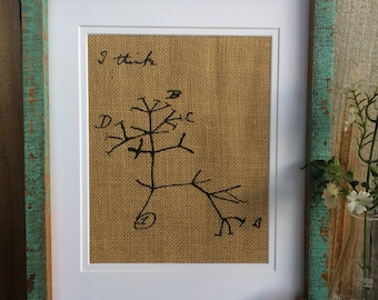 "Charles Darwin Tree Of Life , ""I Think"", Evolutionary Tree Print On Burlap"
