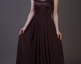 Dark brown bridesmaid dress Chocolate brown bridesmaid dress Chocolate bridesmaid dress Brown lace dress Chocolate brown dress Prom dress