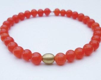 Red stretch bracelet, red bracelet, red bead bracelet