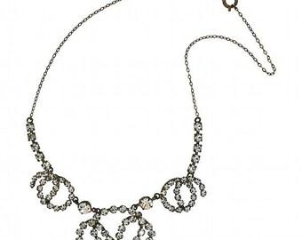 1940's Diamante Horse Shoe Vintage Necklace
