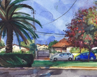 Landscape Painting Print, Watercolor Art, Original Painting Print, Aquarelle print, Palm Tree Scenery Painting, Art Print, Wall Art Decor