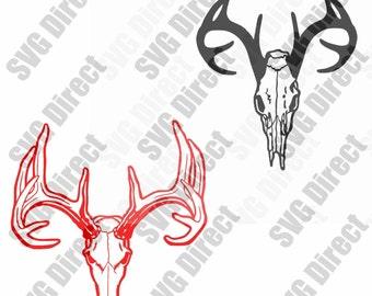 Deer Skulls SVG cut file - use with Silhouette Studio & Cricut, Vector Art, Vinyl Digital Cutting Cut Files