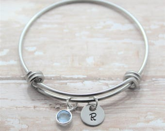 Personalized Initial Bracelet - Personalized Bangle Bracelet - Initials Bracelet - Initial Charm Bracelet - Moms Day Gift