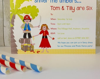 Pack of 16 Pirate and Princess Personalised Party Invites or Thank You Cards