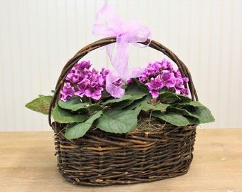 Small Spring Purple Violets Silk Flower Arrangement In Basket With Bow