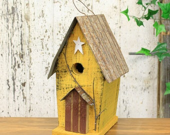 Tall Rustic Wooden Birdhouse With Tin Roof (4 Assorted Colors) Blue, White, Yellow, Red