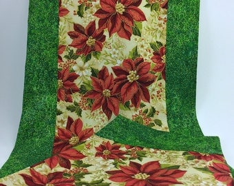 ON SALE: Poinsettia, Holly, Green/Gold Table Runner  *** 20% OFF ***