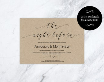 Rehearsal Dinner Invitation Printable -  Wedding Rehearsal - Rehearsal Dinner Template - DIY Wedding -  Downloadable wedding  #WDH0154