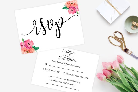 Online Wedding Invitations And Rsvp: Items Similar To RSVP Wedding Flowers