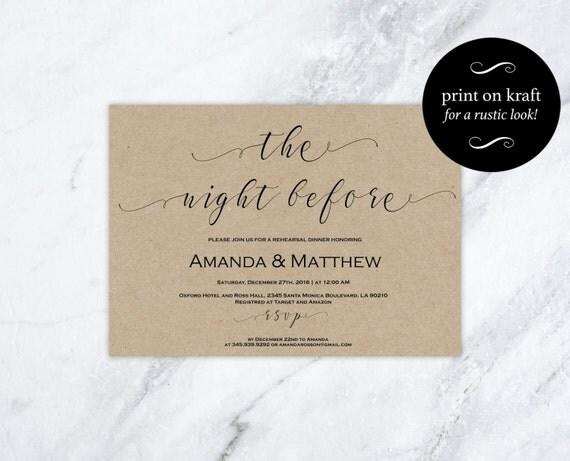 Rehearsal Dinner Invitation Printable -  Wedding Rehearsal - Rehearsal Dinner Template - DIY Wedding -  Downloadable wedding  #WDH0154