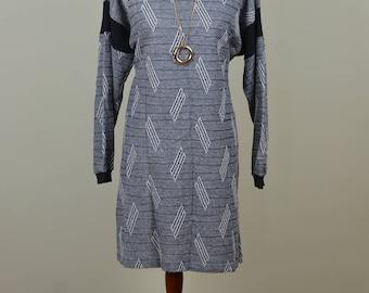 Geometric Knit Tunic // Vintage 1980s // Size 8 Size 10 Size 12
