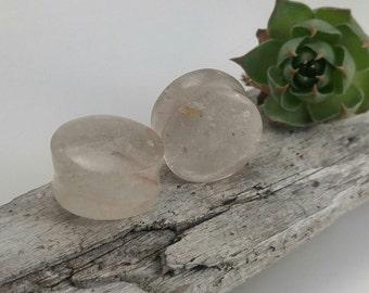 "Rutilated quartz plugs,  stone body jewelry, flared ear plugs, organic stone plugs, handmade plugs, stone plugs 5/8"", organic ear stretchers"