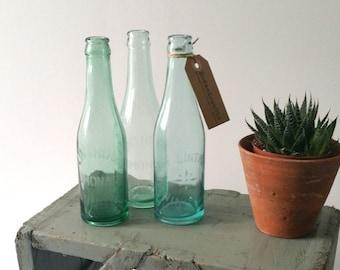 Cute old decorative lemonade bottles glass engraved