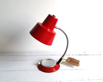 Vintage desk lamp bright red