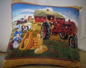 Farmall C with Child and Farm Scene Toss Pillow- 20x20 with removable cover