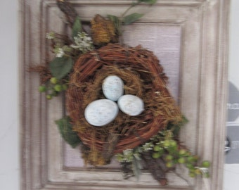 """Cuadro en 3d, hecho a mano listo para regalar """"nido de pajaro"""" """"bird's nest"""""""