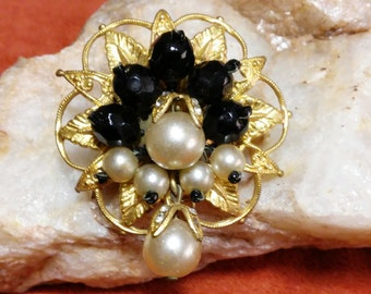 Paris House London Black Crystal & Pearl Brooch
