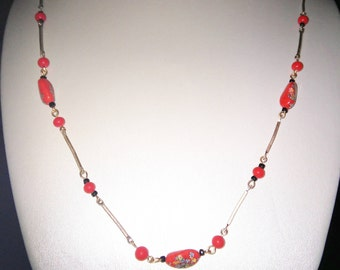 Red Millefiori Bead Necklace
