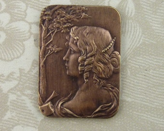 Beautiful French Vintage Maiden Stamping(1 pc)French Art Nouveau Goddess Brass Stamping/Goddess Stamping/Vintage Goddess Pendant