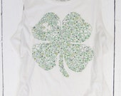 shamrock shirt, four leaf clover tee, st patricks day tank, lucky tshirt, ladies tank top, white tank, clover design, boho festival style