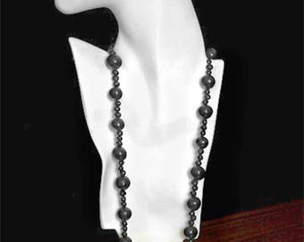 "Vintage 32"" Black Round Peruvian Clay Bead Strand Necklace fn956"