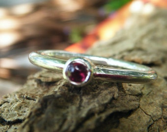 Rose red garnet ring, stacking stack stackable, 3mm pink rhodolite garnet, size 2 3 4 5 6 7 8 9, 10 11 12, petite fine simple narrow band
