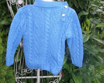 Blue Wool Sweater with beautiful cable pattern