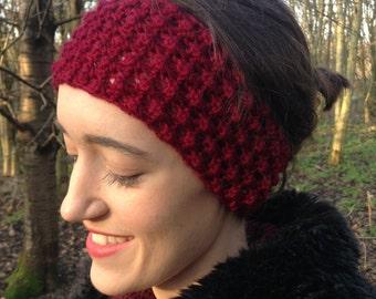 Raspberry Stitch Headband, Knitted Headband, Headband, Women's Accessories, Earwarmer, Earmuffs, Ear Warmer, Hand Knitted
