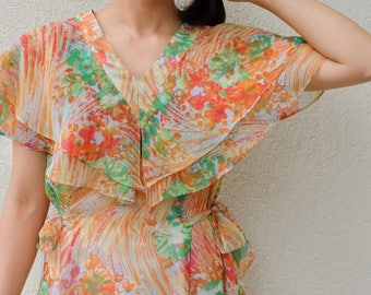 Double layered cape dress with side ribbon lace / Japanese vintage / Cape style / Orange / Chiffon / Abstract / Summer / Spring / Size S-M