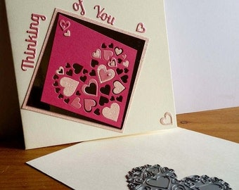 A square cream card, thinking of you, handmade, handcrafted, embellished.