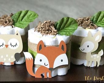 Green Woodland Diaper Cake, Baby Shower Centerpiece, Baby Shower Decor Gift, Gender Neutral Baby Boy Girl Forest Animals, Set of 3, 1 Tier