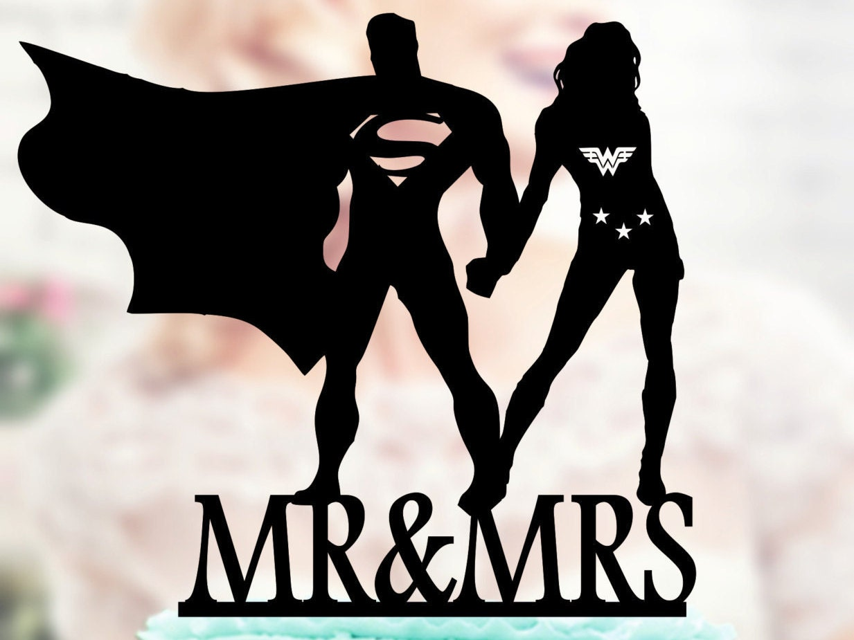 Superman and Wonder woman Silhouette Mr and Mrs Wedding Cake
